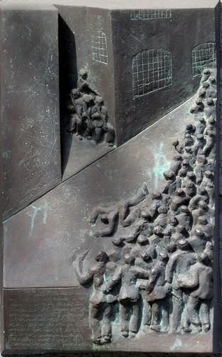 Gedenktafel zu den ersten Toten der Revolution an der Feldstraße